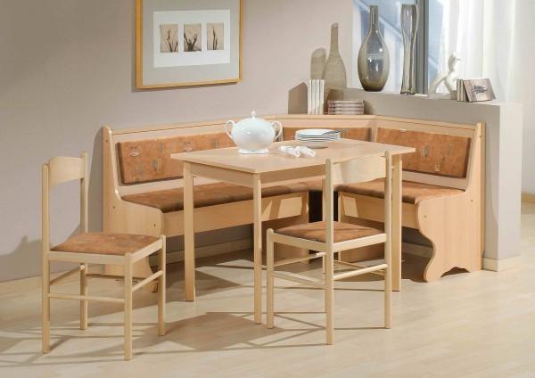 Truhen-Eckbankgruppe, Buche Natur Dekor; Eckbank, 2 Stühle und Vierfußtisch; Bezug: Mikrofaser terracotta; variabel aufbaubar